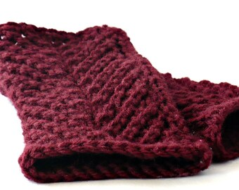 Knit Fingerless Gloves Burgundy Cable Gloves Cranberry Fashion Accessories Oxblood Winter Gloves Warm Gloves Texting Gloves Driving Gloves