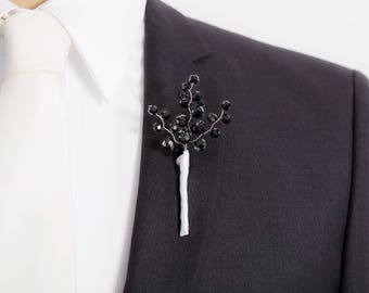 Limited Edition Black Boutonniere - Shiny Black - Black and White Boutonniere - Mens Boutonniere