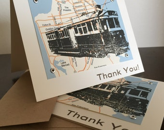 San Francisco Map and Trolley - 12-Pack Screen-Printed Thank You Cards