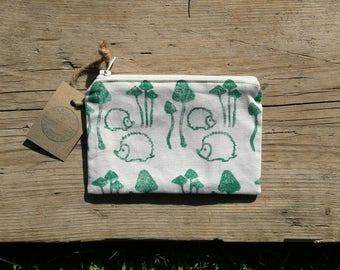Hedgehog Purse, Woodland Purse, Hedgehog Gift, Fabric Purse, Zip Purse, Change Purse, Zipper Pouch, Small Cosmetic Bag, Coin Purse