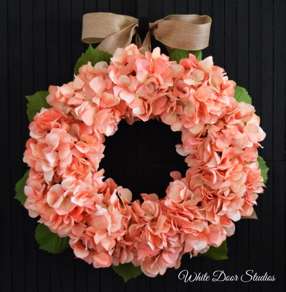 Coral Hydrangea Spring and Summer Front Door Wreath
