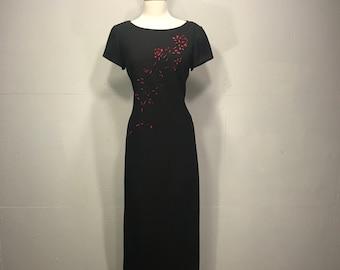 90s Jessica Howard black  dress red floral cutout black size 8 black dress