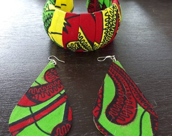 Set of earrings and bracelet, African Ankara fabric earrings bracelet, ethnic earrings, Ghana bracelet