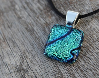Blue Pendant, Fused Glass Jewelry, Handmade Glass Art, Unique Jewelry, Dichroic Glass Jewelry, Necklace - PN 163