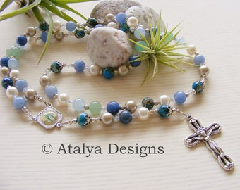 Swarovski Pearl Our Lady of Grace Handmade Rosary - Blue and Green Aventurine Beads - Catholic Rosary - Made in the UK