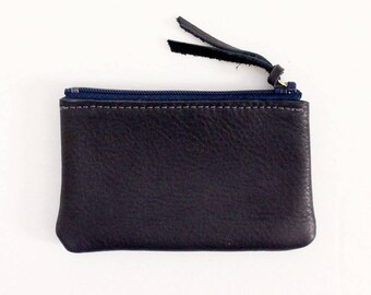 Leather Zipper Coin Case / Card Case / Wallet - Navy Blue