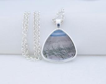 Beach Grass Pendant Necklace, Shiny Silver Tone, Photography, Photo Jewelry, Triangle Pendant, Vacation