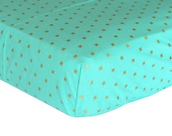 Metallic Gold Crosses on Aqua | Fitted Crib Sheet