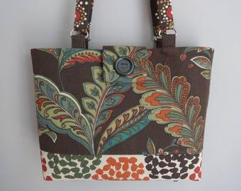 Purse with shoulder straps, cotton canvas purse, handmade handbag, gift for wife, warm tones purse, brown handbag canvas tote, gift under 50