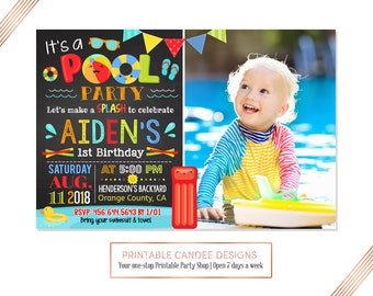 Pool Party Birthday Invitation, Summer Party, Chalkboard Splish Splash Invite, Swimming Beach, !st Birthday, DIY Custom Printable