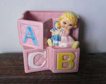 Vintage Nancy Pew Japan ABC Baby Planter/ Foam Vase
