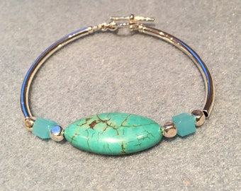 Puck olive turquoise silver bracelet