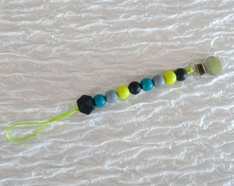 Lime and Teal Pacifier Clip