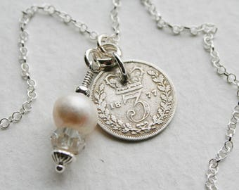 Victorian 3 pence coin Charm Necklace Genuine 1877 Coin Crystal and Freshwater Pearl Charm