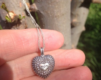Mom heart  925 silver necklace