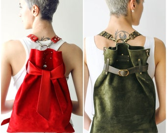 Trendy Backpack, leather Purse, Gift for her, Leather Backpacks, Green Backpack, Red Backpack, Festival Backpacks, Convertible Backpacks