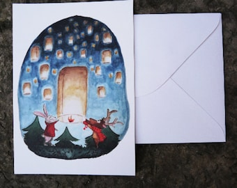 Postcard and envelope