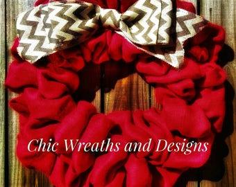 Chic Valentine's Day Wreath Burlap Chevron