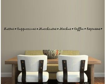 Lattes Cappuccinos Macchinatos Mochas Coffee Espressos With Beans Cafe Drink Wall Decal Sticker Art Mural Home Décor Quote Kitchen Mug Roast