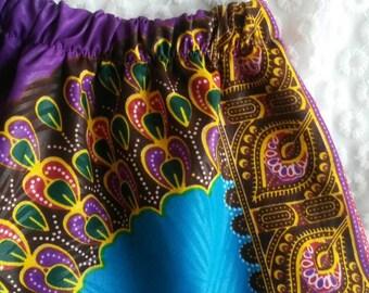 Baby Girl Skirt (0-3, 3-6, 6-12, 12-18mths) - African Print Ankara Dashiki Purple Blue