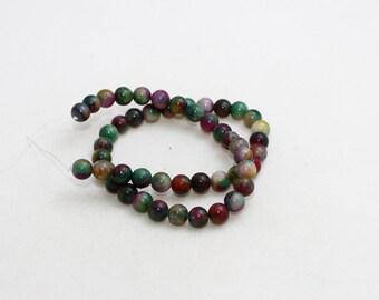 8mm Round Beads, Full Strand , natural stone beads, Round Jade Beads, Jade , Semi Precious , Colored Jasper Beads, LAL1