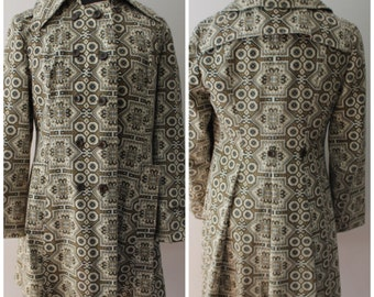 Vintage 1970s Lightweight Patterned Peacoat, 70s Retro Jacket - Size Small, Medium