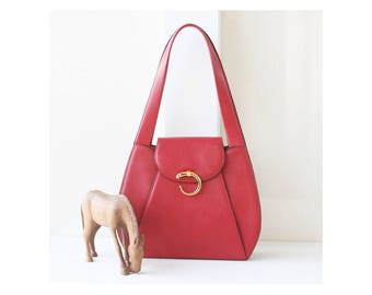 Auth Cartier Red Panther tote and Shoulder bag vintage purse
