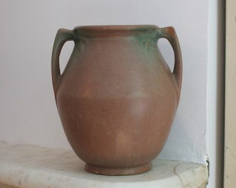 Vintage Rare McCoy Planter, Large Urn, Jardiniere ,Brown and Green Pot, Pink 1930s Pottery