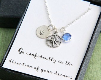Inspirational Necklace, Inspirational Gift, Silver Compass Necklace, Personalized Necklace, Graduation Gift for Her, 18th Birthday Necklace