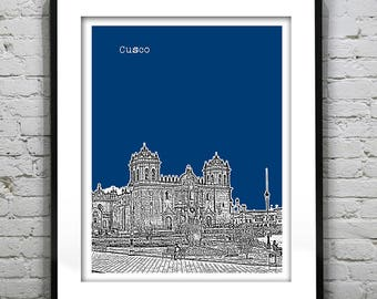 Cusco Peru Poster Art Print Beach Version 1
