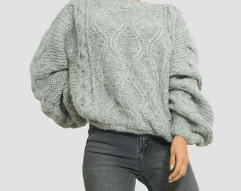 Chunky oversized Cable knit Sweater/ Grey Slouchy womens sweater/ women clothing handmade alpaca sweater/ SALE