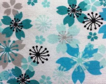 Flannel Teal Blue Floral Pillowcase