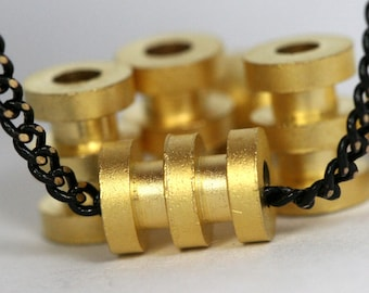 "brass round spacer 10 pcs 5 x 7 mm 3/16"" x 9/32""  gold plated finding industrial design (2 mm 5/64"" 12 gauge hole ) bab2 1222G"
