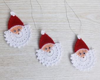 Crochet Santa Claus Face, Crochet Christmas Ornament Set of 3, Handmade Christmas Applique