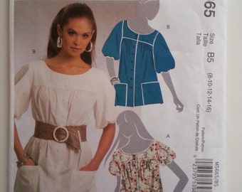 Puffy sleeve blouse / pockets / short sleeve / nurse top / button up shirt /2008 sewing pattern, Size 8 10 12, Bust 31 32 34, McCalls M 5665