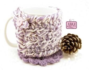 Crochet Purple Coffee Mug Cozy, Coffee Mug Sleeve, Tea Cozy, Tea Mug Sleeve, Coffee Mug Warmer, Gift, Star, Coffee Cup Cozy, Peach