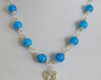 Blue Sky Art Glass Silver Heart Necklace