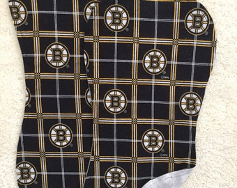 Boston Bruins Burp Cloths, NHL Burp Cloths, Set of 2 burp cloths, Baby boy burp cloths, Hockey burp cloths