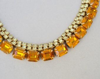 Vintage Rhinestone Amber Stone GF Necklace