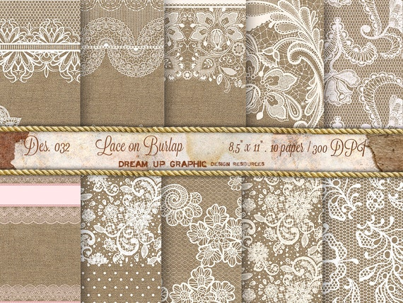 Lace on Burlap Digital Paper: Lace Burlap Wedding Invitation, Rustic ...