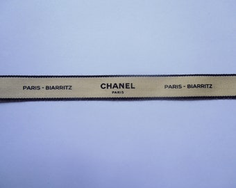 Chanel authentic ribbon  cream with black edge & lettering 'Chanel Paris-Biarritz' 1.5cm wide 1 metre