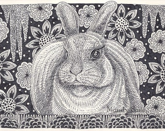 "Rabbit Ink Drawing 8 - a whimsical black & white ink pen 8 x 10"" ART PRINT of a beautiful rabbit resting in a beautiful decorative garden"