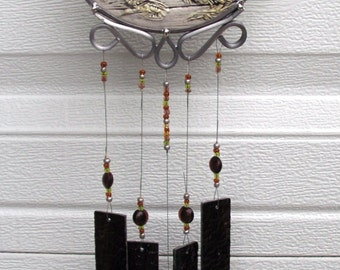 Foal Wind Chime, Upcycled 3-D Piece, Handmade Stained Glass Chimes