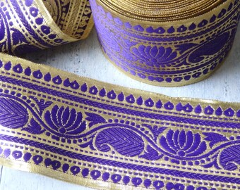 Extra wide Purple and Gold sari trim - TWO yards of luxurious Indian sari border, 85mm royal purple and gold trim with lotus flower - 2 yds.