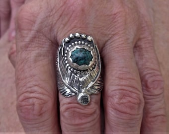 R117--Kingman Turquoise Saddle Ring size 7.5--FREE SIZING-- Sterling Silver Ring-- Gemstone, Vintage Style -Handmade