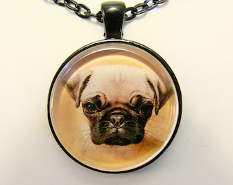 PUG PUPPY Necklace -- For dog and animal lovers