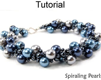 Spiral Stitch Beaded Bracelets - Jewelry Making Tutorials - Pearls and Seed Beads - Simple Bead Patterns - Spiraling Pearls #349