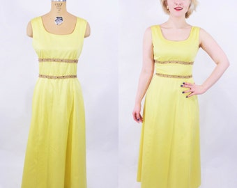 1960s evening dress | yellow gold metallic trim princess style long evening gown | vintage 60s dress | W 26""