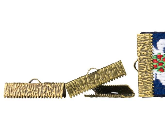 150 pieces  25mm  (1 inch)  Antique Bronze Ribbon Clamp End Crimps - Artisan Series