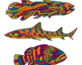Fish Print, Ocean Print, Beach Print, Oceania Print, Ocean Home Decor, Beach House Wall Art, Beach Decor, digital download